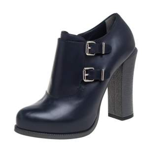 Fendi Blue Leather Zipper Ankle Boots Size 38