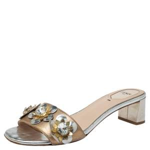 Fendi Metallic Bronze/Silver Leather Flowerland Sandals Size 39