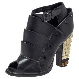 Fendi Black Leather Polifonia Booties Size 36