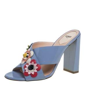 Fendi Blue Patent Leather Flowerland Mule Sandals Size 39