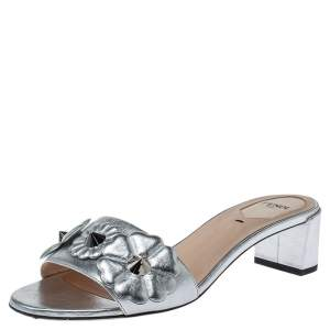 Fendi Silver Leather Flowerland Slide Sandals Size 38