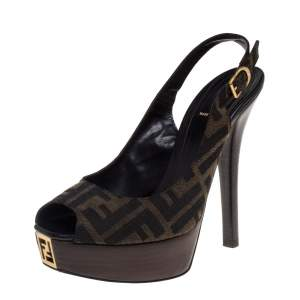 Fendi Tobacco Zucca Canvas FF Slingback  Sandals Size 38.5