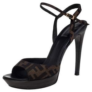 Fendi Brown Zucca Canvas Platform Ankle Strap Sandals Size 40