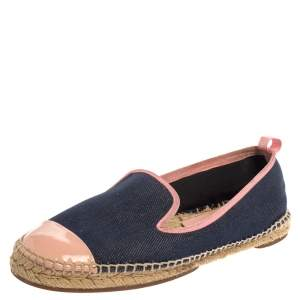 Fendi Navy Blue Denim And Pink Patent Leather Junia Cap Toe Espadrilles Flats Size 40