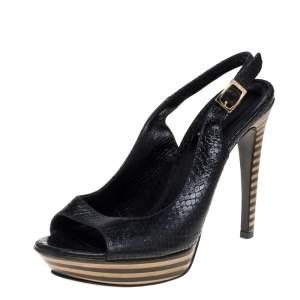 Fendi Black Python Embossed Leather Platform Slingback Sandals Size 38