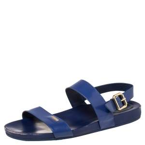 Fendi Blue Leather Flat Slingback Sandals Size 41
