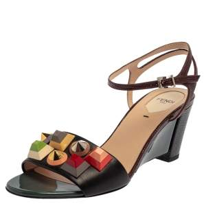 Fendi Brown Leather Rainbow Studs Sandals Size 39