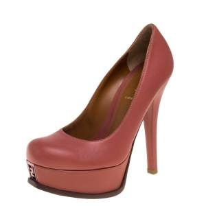 Fendi Coral Pink Leather Fendista Platform Pumps Size 36
