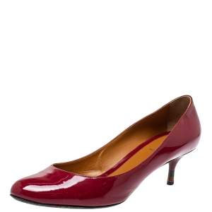 Fendi Red Patent Leather Kitten Heel Pumps Size 41