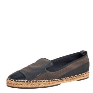 Fendi Black/Brown Canvas and Leather Cap Toe Espadrilles Flats 41