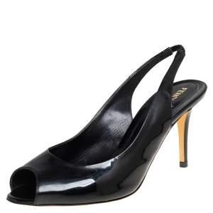 Fendi Black Patent Leather Peep Toe Slingback Sandals Size 41