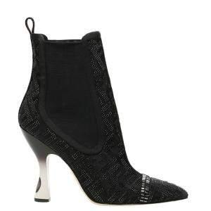 Fendi Crystal-Embellished Logo Colibrì Ankle Boots Size IT 36