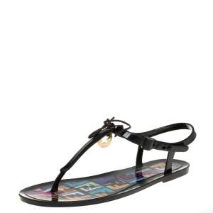 Fendi Black Rubber Ankle Strap Flats Sandals Size 41