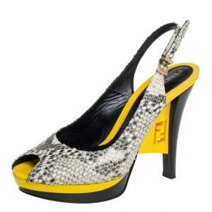 Fendi Two Tone Python Embossed Leather Platform Slingback Sandals Size 36