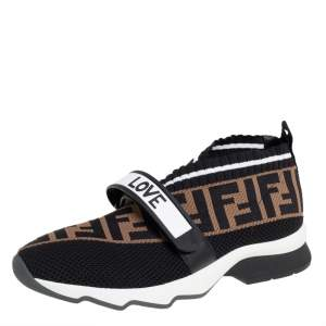 Fendi Tobacco Rockoko Mesh And Knit Fabric Sneakers Size 37.5