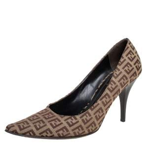 Fendi Brown/Beige Zucca Canvas Slip On Pointed Toe Pumps Size 38