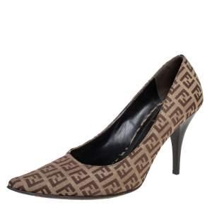 Fendi Brown/Beige Zucca Canvas Slip On Pointed Toe Pumps Size 38
