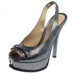 Fendi Grey Fabric Fendista Bow Peep Toe Slingback Platform Pumps Size 38.5