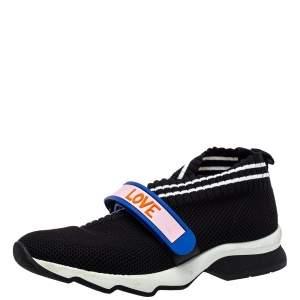 Fendi Black Knit Fabric Rockoko Sneakers Size 38