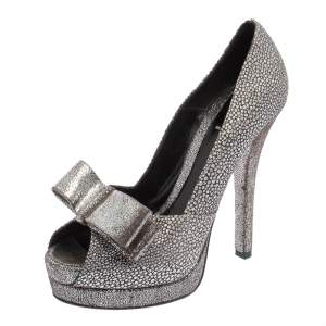 Fendi Silver Brocade Fabric and Textured Leather Deco Bow Peep Toe Platform Pumps Size 38
