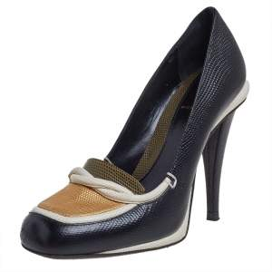 Fendi Black/White Lizard Embossed Leather Pumps Size 38