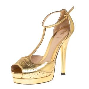 Fendi Gold Leather T Strap Platform Sandals Size 38