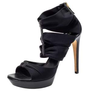 Fendi Black Fabric Strappy Sandals Size 39