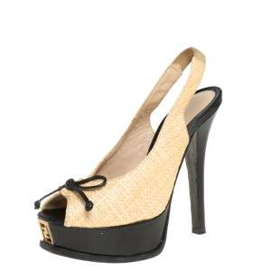 Fendi Beige Woven Raffia Slingback Sandals Size 36