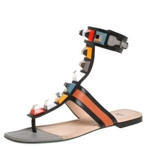 Fendi Multicolor Leather And Lizard Embossed Studded Ankle Cuff Flat Sandals Size 38.5