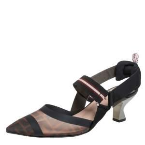 Fendi Brown/Black Zucca Mesh And Leather Colibri Slingback Sandals Size 39