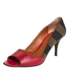 Fendi Red Stripe Canvas And Leather Open Toe Pumps Size 39