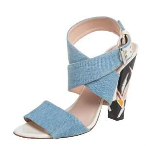 Fendi Blue Denim Fabric Ankle Wrap Sandals Size 39