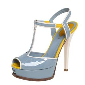 Fendi Blue/Yellow Patent Leather T- Strap Fendista Platform Sandals Size 38