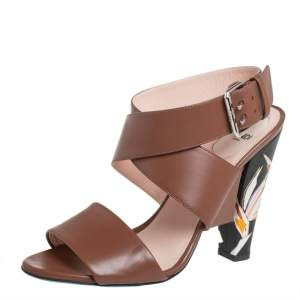 Fendi Brown Leather Ankle Strap Sandals Size 39