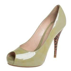 Fendi  Green Patent Leather Zucca Print Heel Peep Toe Pumps Size 38