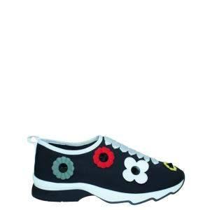 Fendi Black Flower Leather Sneakers EU 38
