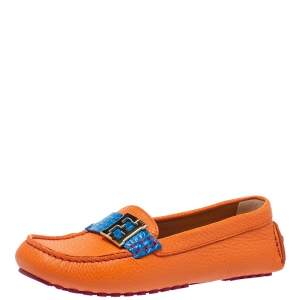 Fendi Orange/Blue Leather And Croc Embossed Leather FF Logo Slip On Loafers Size 37.5