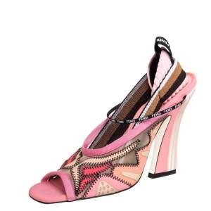 Fendi Multicolor Lace And Canvas Evie Sandals Size 38