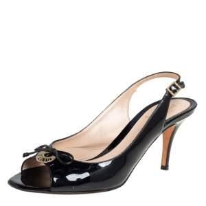 Fendi Black Patent Leather Logo Plaque Sandals Size 38