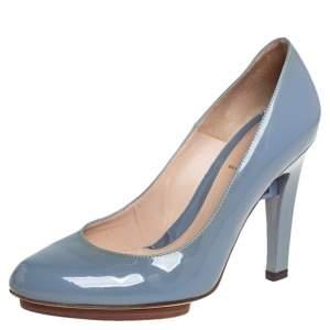 حذاء فندي جلد أزرق لامع مقدمة مستديرة مقاس 37