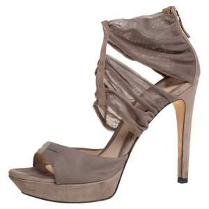 Fendi Grey Lace and Suede Platform Sandals Size 37.5