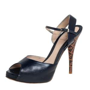 Fendi Blue Leather Zucchino Platform Sandals Size 38