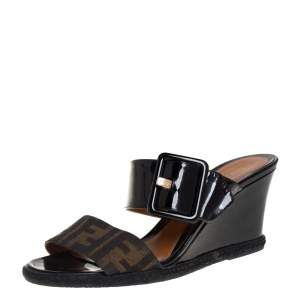 Fendi Black/Zucca Canvas And Patent Leather Wedge Slides Size 39.5