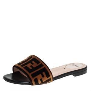 Fendi Brown Zucca Velvet Flat Slides Size 36