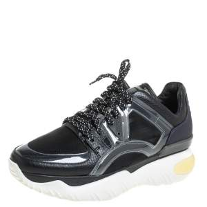 Fendi Black Leather And PVC Fancy Sneaker Size 38