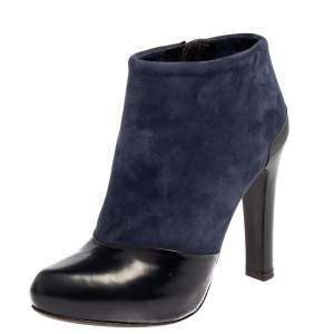 Fendi Navy Blue/Black Suede and Leather Ankle Boots Size 36