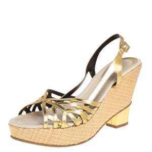 Fendi Gold Patent Leather Wedge Ankle Strap Sandals Size 39
