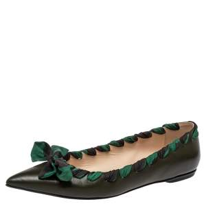 Fendi Olive Green Leather And Fabric Bow Pointed Toe Ballet Flats Size 40