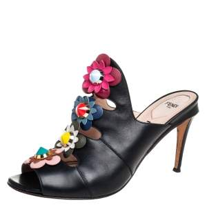 Fendi Black Leather Floral Applique Mule Sandals Size 41