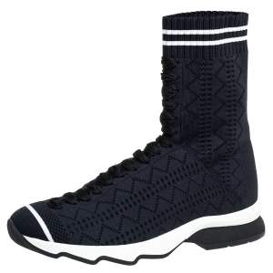 Fendi Black Knit Fabric Sock High Top Sneakers Size 35